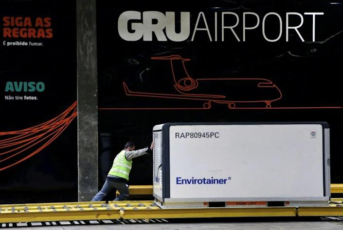 A jandout picture released by the Sao Paulo State Government shows the cargo shipment of COVID-19 vaccines produced by the Chinese company Sinovac Biotech being dispatched at the Cumbica airport, in Guarulhos, Sao Paulo state, Brazil (AFP Photo/Handout)