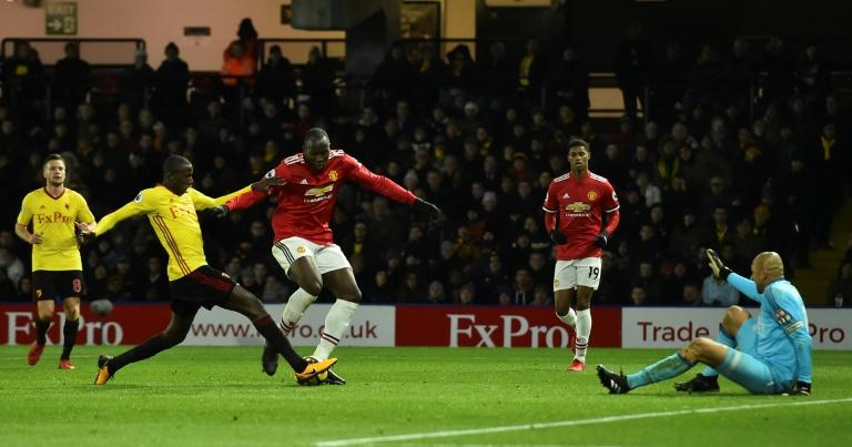 Manchester United's Romelu Lukaku (C) laid on a goal for Anthony Martial in their 4-2 win at Watford, but squandered three good opportunities and has now scored just once in 11 appearances