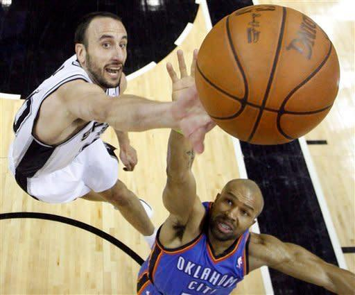 San Antonio Spurs shooting guard Manu Ginobili (20) of Argentina and Oklahoma City Thunder point guard Derek Fisher (37) reach for a rebound during the second half of Game 2 in their NBA basketball Western Conference finals playoff series, Tuesday, May 29, 2012, in San Antonio. The Spurs won 120-111.(AP Photo/Mike Stone, Pool)