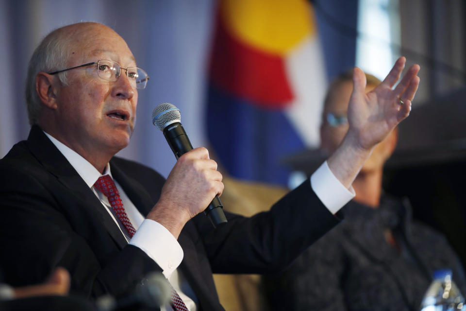 FILE - In this July 26, 2018, file photo, former Interior Secretary Ken Salazar speaks during the annual state of Colorado energy luncheon in Denver. President Joe Biden has unveiled picks for several high-profile ambassadorial postings, turning to a group that includes career diplomats, political allies and an American aviation hero. One is for Salazar to serve as ambassador to Mexico. (AP Photo/David Zalubowski, File)