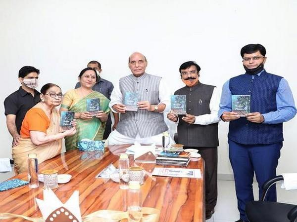 Rajnath Singh launches author Dr Krishna Saksena's 'A bouquet of flowers' on Saturday.