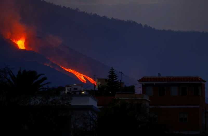 The Cumbre Vieja volcano on the Canary Island of La Palma is photographed at dawn from El Paso