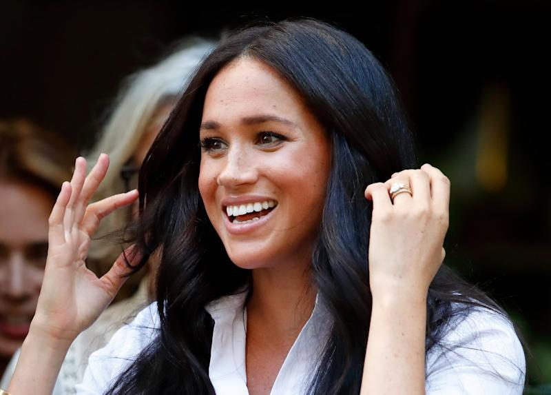 LONDON, UNITED KINGDOM - SEPTEMBER 12: (EMBARGOED FOR PUBLICATION IN UK NEWSPAPERS UNTIL 24 HOURS AFTER CREATE DATE AND TIME) Meghan, Duchess of Sussex launches the Smart Works capsule collection on September 12, 2019 in London, England. Created in September 2013 Smart Works exists to help unemployed women regain the confidence they need to succeed at job interviews and return to employment. (Photo by Max Mumby/Indigo/Getty Images)