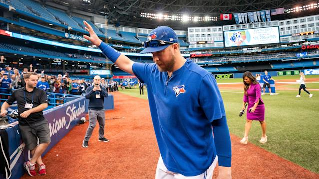 The former Blue Jays first baseman has been through the recent highs and lows of the team. (Photo by Mark Blinch/Getty Images)