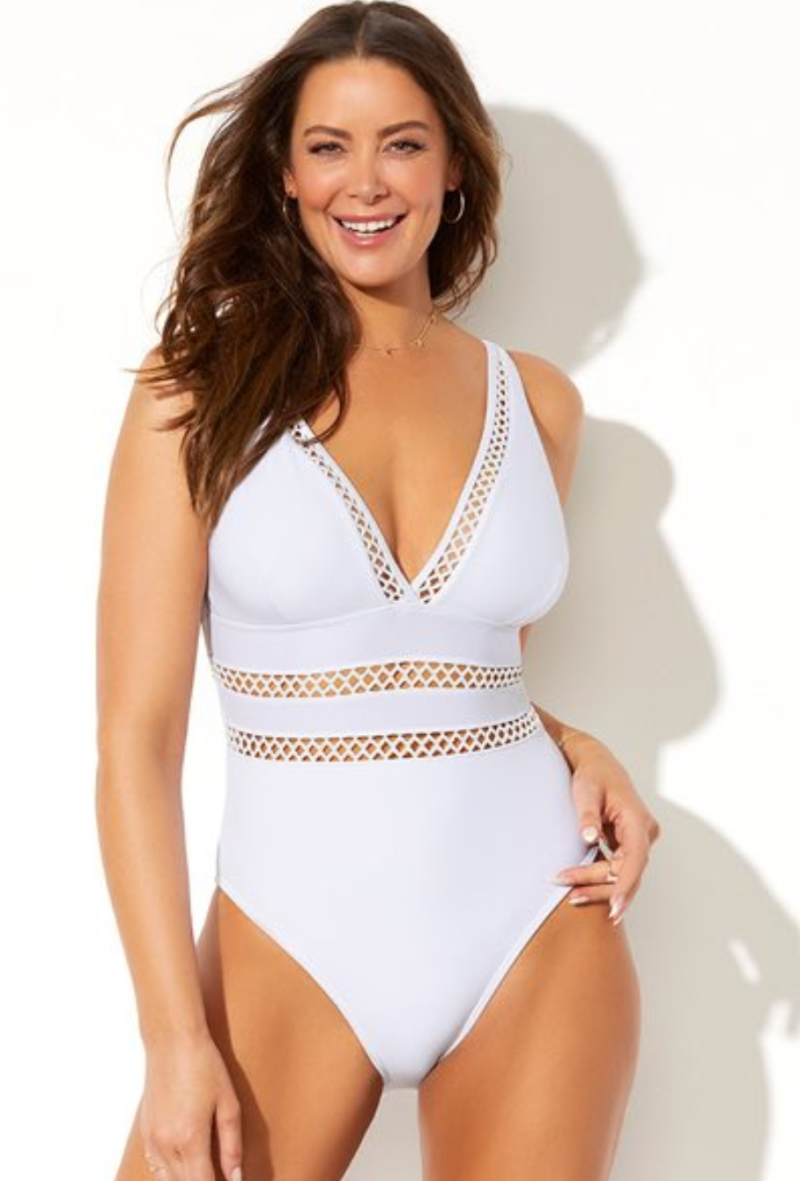 A plunging white swimsuit with soft, wire, free removable cups and tummy-control front lining.