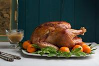 """Sage is to turkey what cinnamon is to apples; they go together like bread and butter. The seasoned butter on this bird is a bright and herbal mix of chopped sage leaves and both orange and lemon zest. It's a classic Canadian Thanksgiving recipe that pleases every year. <a href=""""https://www.epicurious.com/recipes/food/views/citrus-sage-roast-turkey-with-gravy-large-crowd-51137800?mbid=synd_yahoo_rss"""" rel=""""nofollow noopener"""" target=""""_blank"""" data-ylk=""""slk:See recipe."""" class=""""link rapid-noclick-resp"""">See recipe.</a>"""