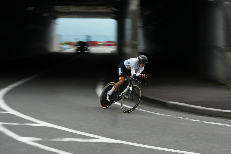 Margarita Victoria Garcia Canellas of Spain competes during the women's cycling individual time trial at the 2020 Summer Olympics, Wednesday, July 28, 2021, in Oyama, Japan. (AP Photo/Thibault Camus)