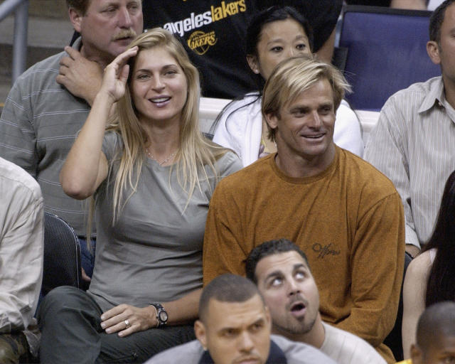 <p>Gabrielle Reece and husband Laird Hamilton attend a Lakers v. Spurs playoff game in 2003. </p>