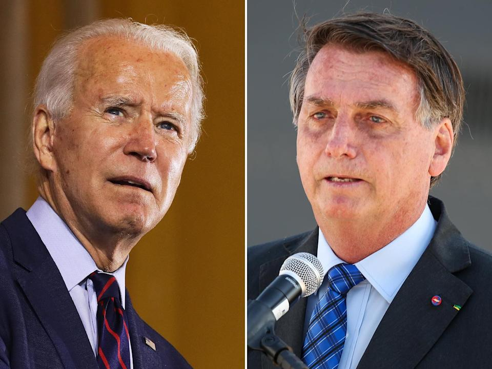 Brazilian President Jair Bolsonaro (right) rejected Democratic presidential nominee Joe Biden's pledge to raise $20 billion in international funds to help Brazil protect the Amazon rainforest, which has suffered record outbreaks of fires over the last two years. (Photo: Getty Images)