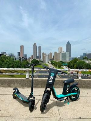 Veo e-scooters and seated Veo Cosmos in Atlanta