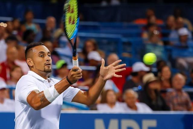 Nick Kyrgios of Australia in action against Norbert Gombos of Slovakia during a quarterfinal round match in the Citi Open tennis tournament at the Rock Creek Park Tennis Center in Washington, DC, USA, 02 August 2019. (Tenis, Abierto, Eslovaquia, Estados Unidos) EFE/ERIK S. LESSER