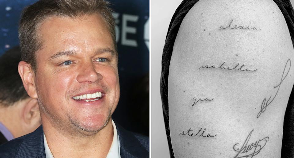 Matt Damon's latest artwork is dedicated to his four daughters. [Photo: Getty/Instagram]