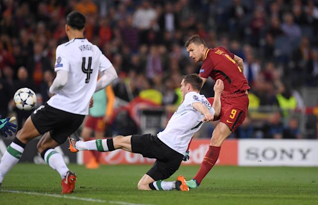 <p>Soccer Football – Champions League Semi Final Second Leg – AS Roma v Liverpool – Stadio Olimpico, Rome, Italy – May 2, 2018 Roma's Edin Dzeko scores their second goal REUTERS/Alberto Lingria </p>