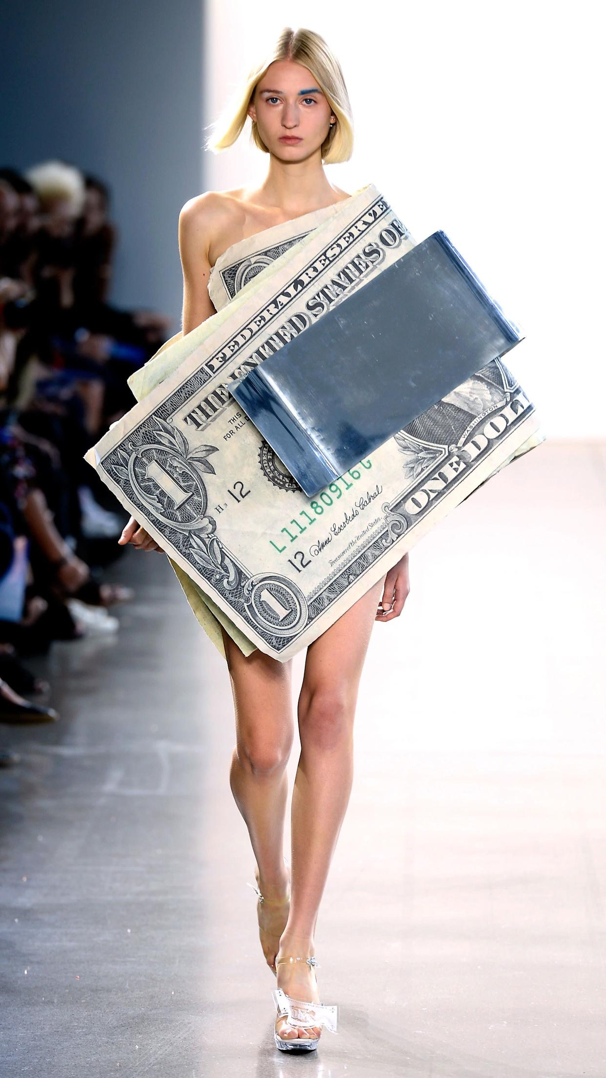 Designer Kota Okuda sent models down the runway in looks like this one, meant to redefine American currency &quot;<span>by commodifying its value in an alchemistic system of dress</span>&amp;rdquo; on Sept. 7.&amp;nbsp;