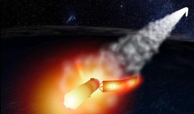 An artist's conception shows the fiery breakup of China's Tiangong-1 space lab. (AGI Illustration)