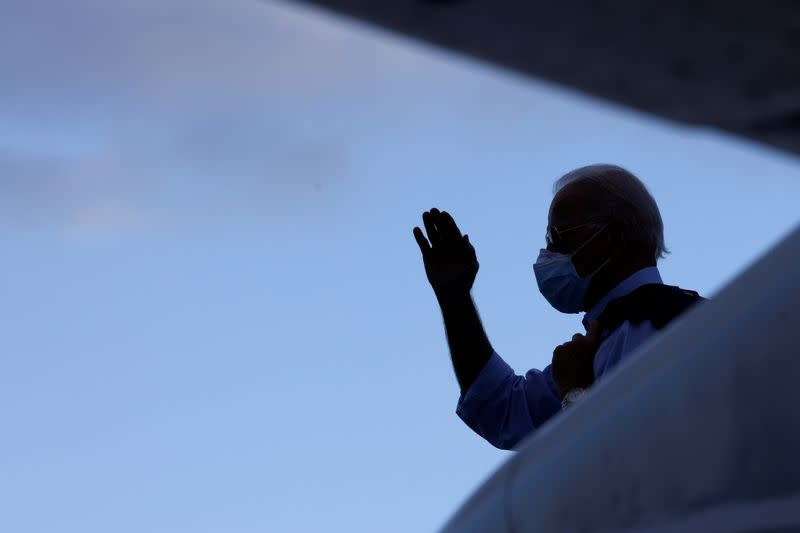 FILE PHOTO: Democratic U.S. presidential nominee and former Vice President Joe Biden departs on campaign travel to Tampa from the airport in Fort Lauderdale