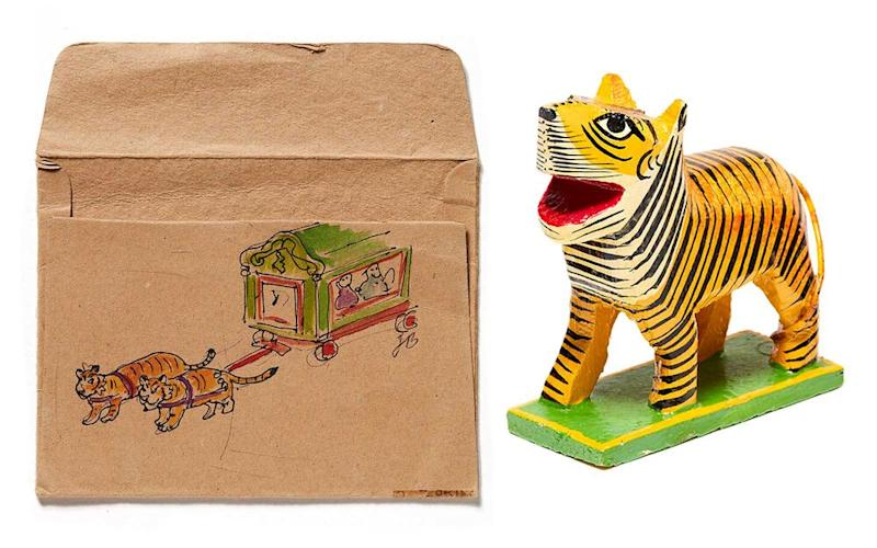 From left: An illustration done by Jan Brett during her trip; a tiger figurine purchased in India. | From left: Illustration by Jan Brett, photographed by Philip Friedman; Philip Friedman