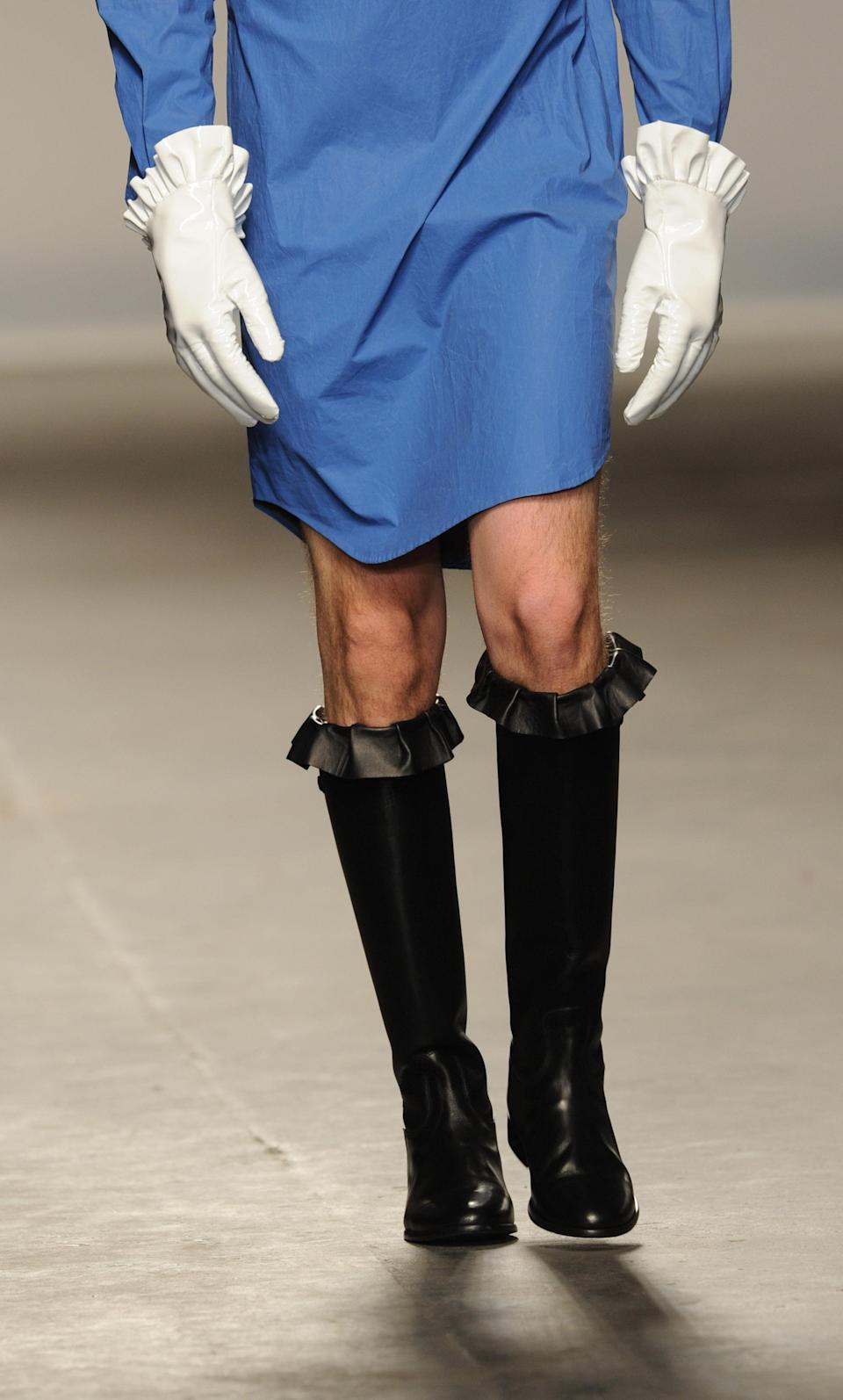 """<div class=""""caption-credit"""">Photo by: Stuart Wilson/Getty Images</div>The JW Anderson Ready to Wear collection sent grown men down the runway in scalloped mini-skirts, shirt-dresses, frilly boots, and the kinds of gloves only a 17th century serial killer could wear inconspicuously. <br>"""