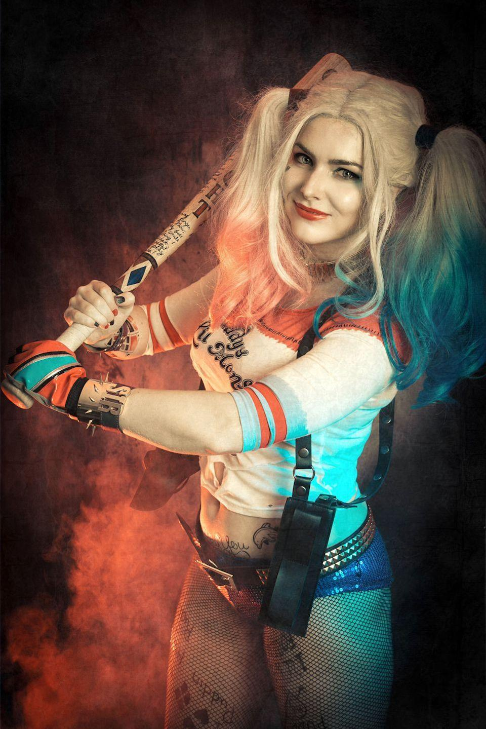 """<p>If you saw <em>Suicide Squad</em>, you're well aware of this iconic Harley Quinn outfit. Scottish cosplayer The Crystal Wolf (aka Erin Kirkwood) brought the look to life with numerous accessories and hand-crafted temporary tattoos.</p><p><strong>See more at </strong><a href=""""https://www.instagram.com/p/Bs89lGPjEDt/"""" rel=""""nofollow noopener"""" target=""""_blank"""" data-ylk=""""slk:@CrystalWolfCosplay"""" class=""""link rapid-noclick-resp""""><strong>@CrystalWolfCosplay</strong></a><strong>.</strong></p><p><a class=""""link rapid-noclick-resp"""" href=""""https://www.amazon.com/LOreal-Paris-Color-Colorista-Hotpink/dp/B074K6DJ4T/ref=sr_1_5?tag=syn-yahoo-20&ascsubtag=%5Bartid%7C10050.g.29418972%5Bsrc%7Cyahoo-us"""" rel=""""nofollow noopener"""" target=""""_blank"""" data-ylk=""""slk:SHOP TEMPORARY PINK HAIR DYE""""><strong>SHOP TEMPORARY PINK HAIR DYE</strong></a></p>"""