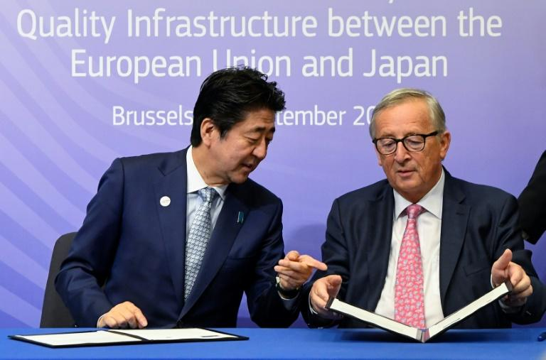 Conscious of China's ambitions with its  Belt and Road programme, Japanese Prime Minister Shinzo Abe and European Commission Jean-Claude Juncker inked their accord on coordinating major projects connecting Europe and Asia