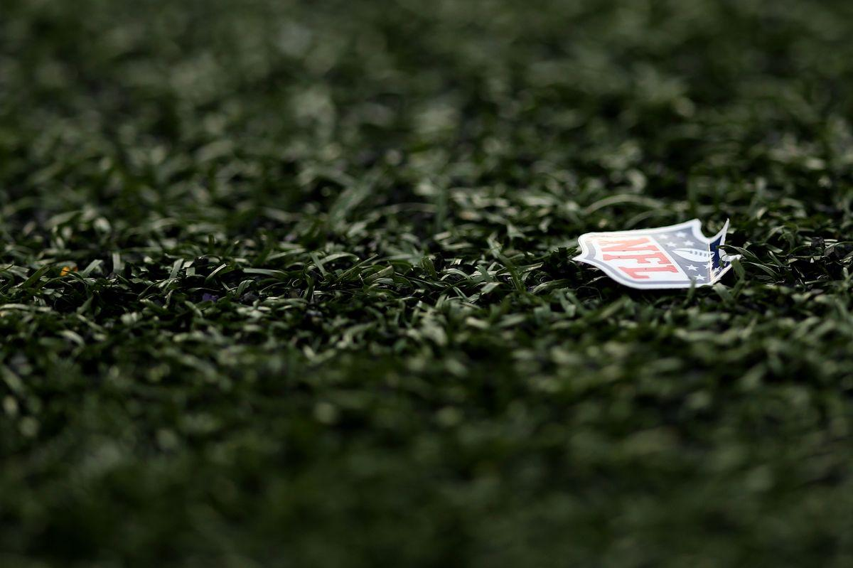 BALTIMORE, MD - NOVEMBER 01: An NFL logo is seen on the field as the Baltimore Ravens play the San Diego Chargers at M&T Bank Stadium on November 1, 2015 in Baltimore, Maryland. (Photo by Patrick Smith/Getty Images)