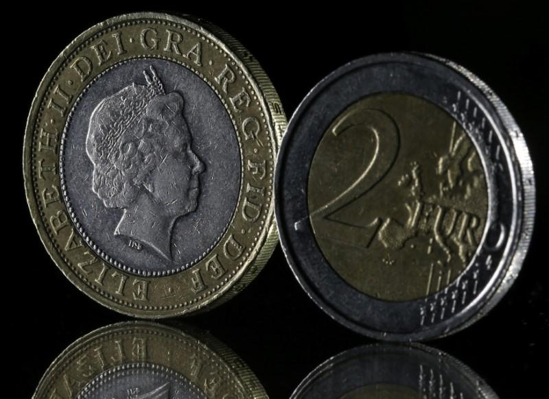 Pound and Euro coins are seen in this picture illustration