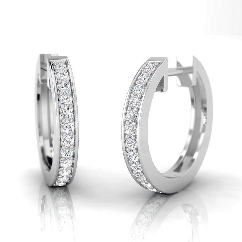 Pristine Fire 1/4 Carat Natural Diamond Sterling Silver Huggie Earrings (Photo: Amazon)