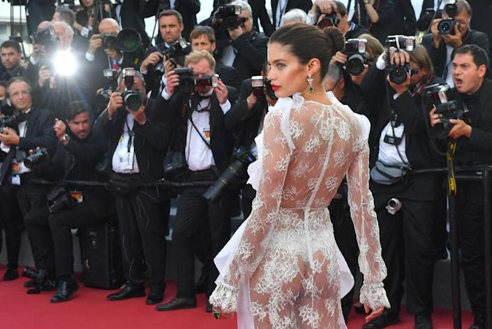 Some outfits at Cannes, like the one worn by Portuguese model Sara Sampaio, left little to the imagination (AFP Photo/LOIC VENANCE)