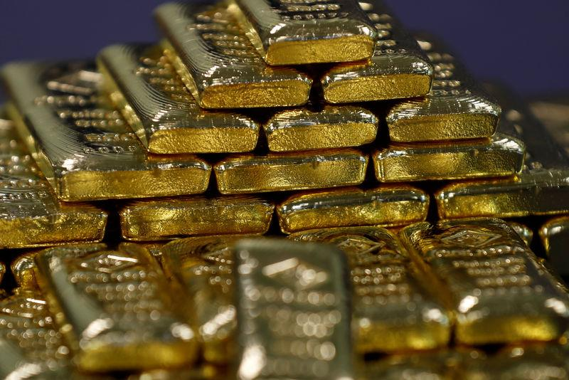 Gold bars are seen in the Austrian Gold and Silver Separating Plant 'Oegussa' in Vienna