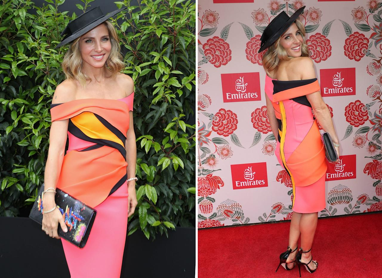 <p>Elsa Pataky, para asistir a la Emirates Melbourne Cup, se enfundó un original (y colorido) vestido de una diseñadora australiana llamada Sonia Cappellazzo, que combinó con una gran sonrisa para acabar con los rumores de crisis en su matrimonio. (Foto: Scott Barbour / Getty Images Entertainment / Getty Images). </p>