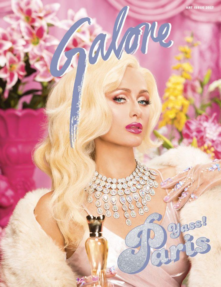 Paris Hilton dripping in jewels on the cover of Galore. (Photo: Galore magazine)