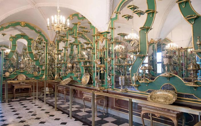 (FILES) This file photo taken on April 9, 2019 shows one of the rooms in the Green Vault (Gruenes Gewoelbe) at the Royal Palace in Dresden, eastern Germany. - German police on Tuesday, November 17, 2020 arrested three suspects over a spectacular heist a year ago in which more than a dozen diamond-encrusted items were snatched from the state museum in Dresden. (Photo by Sebastian Kahnert / dpa / AFP) / Germany OUT (Photo by SEBASTIAN KAHNERT/dpa/AFP via Getty Images) - SEBASTIAN KAHNERT/DPA