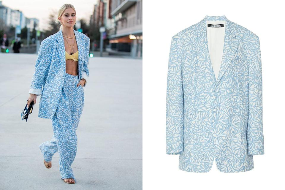 """<p>Show a little skin on the weekends and go without the standard white button down. Try a <a href=""""https://www.marieclaire.com/fashion/g32034478/bralette-outfits/"""" rel=""""nofollow noopener"""" target=""""_blank"""" data-ylk=""""slk:knit bralette under"""" class=""""link rapid-noclick-resp"""">knit bralette under </a>this Jacquemus floral oversized blazer and matching trousers for a little sneaky sex appeal.</p><p><em><a href=""""https://www.modaoperandi.com/jacquemus-r20/la-veste-d-homme-2"""" rel=""""nofollow noopener"""" target=""""_blank"""" data-ylk=""""slk:Jacquemus La Veste D'Homme Floral Oversized Twill Blazer"""" class=""""link rapid-noclick-resp"""">Jacquemus La Veste D'Homme Floral Oversized Twill Blazer</a>; $960</em></p>"""