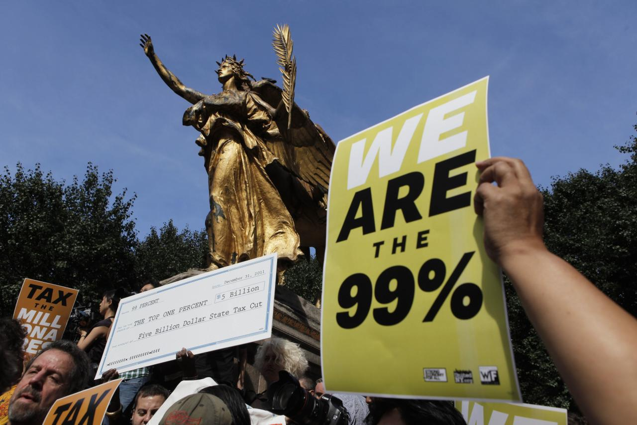 Members of the Occupy Wall St movement protest on 5th Avenue while marching through the upper east side of New York October 11, 2011. Demonstrators taking part in the Occupy Wall St have staged demonstrations protesting income inequality for several weeks while camping in Zuccotti Park. REUTERS/Lucas Jackson (UNITED STATES - Tags: BUSINESS DISASTER)