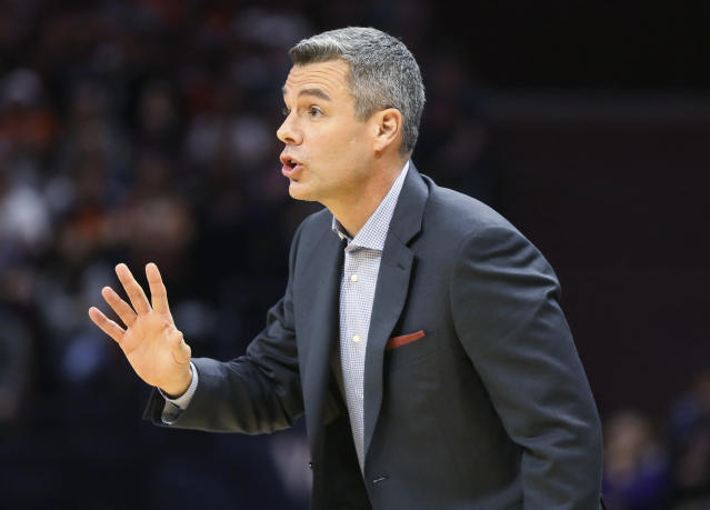 Virginia coach Tony Bennett reacts to a play during the team's NCAA college basketball game against James Madison in Charlottesville, Va., Sunday, Nov. 10, 2019. (AP Photo/Andrew Shurtleff)