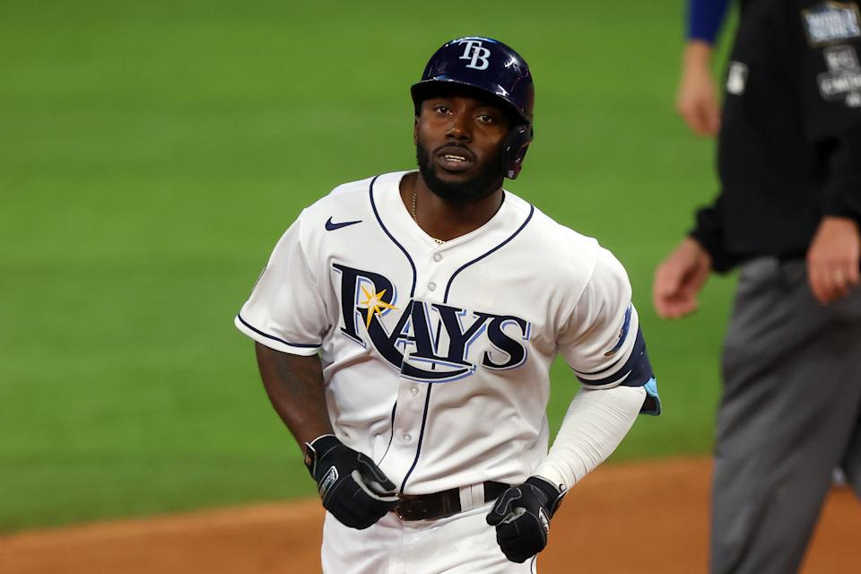 Rays rookie Randy Arozarena ties Derek Jeter's postseason hit record and ties a home run record shared by Barry Bonds. (Photo by Ronald Martinez/Getty Images)