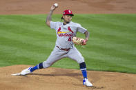 St Louis Cardinals pitcher Carlos Martinez throws during the first inning of the team's baseball game against the Philadelphia Phillies, Friday, April 16, 2021, in Philadelphia. (AP Photo/Laurence Kesterson)