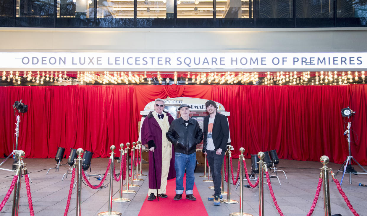 Suggs, Chris Foreman and producer Ben Timlett attending the premiere for Before We Was We (Ian West/PA)