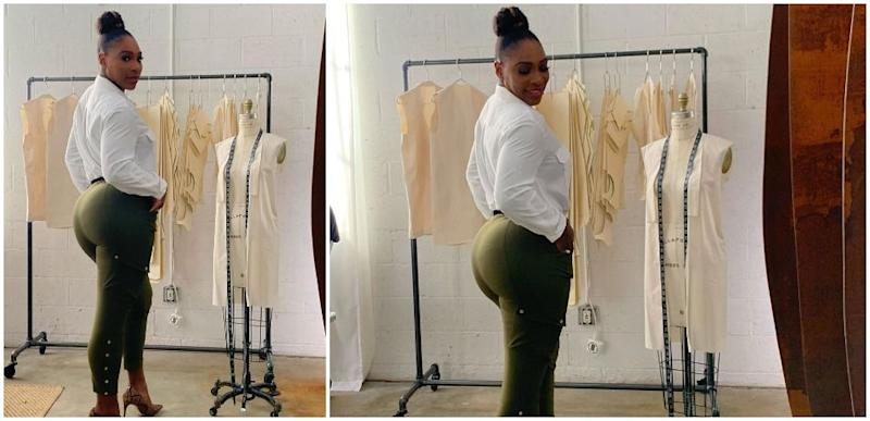 Serena Williams poses in tight green pants