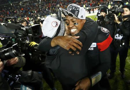 Ottawa Redblacks quarterback Henry Burris, Grey Cup MVP, celebrates after they defeated the Calgary Stampeders in the Canadian Football League's (CFL) 104th Grey Cup championship game in Toronto, Ontario, Canada November 27, 2016. REUTERS/Mark Blinch