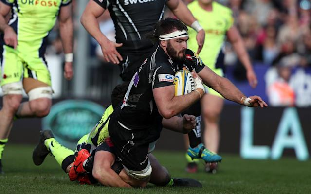 Don Armand of Exeter Chiefs goes over for a try against Sale Sharks - Rex Features