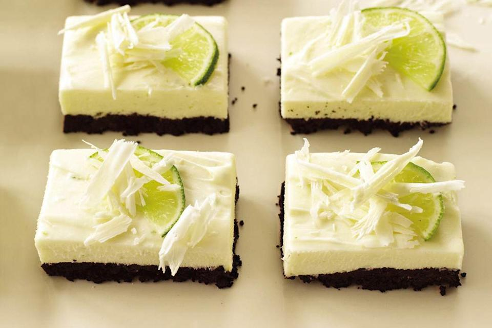 """We love cheesecake in all its forms. But here, a chocolate cookie–crumb crust really helps these bars shine. <a href=""""https://www.epicurious.com/recipes/food/views/white-chocolate-and-lime-cheesecake-bars-240131?mbid=synd_yahoo_rss"""" rel=""""nofollow noopener"""" target=""""_blank"""" data-ylk=""""slk:See recipe."""" class=""""link rapid-noclick-resp"""">See recipe.</a>"""