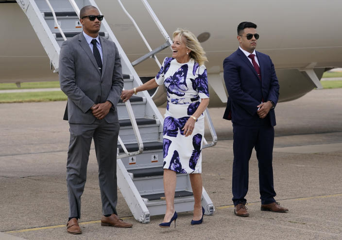 First lady Jill Biden arrives at Love Field Airport in Dallas, Tuesday, June 29, 2021. (AP Photo/Carolyn Kaster, Pool)