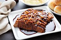 """<p>This special dish would be the star of any holiday table, and Passover is as good a time as any to pull out all the stops. If you are used to dry, chewy brisket that tastes mostly like generic meat, then you are in for a treat with this flavorful, tender rendition.</p> <p><a href=""""https://www.thedailymeal.com/recipes/brisket-braised-pomegranate-juice-onion-confit-recipe?referrer=yahoo&category=beauty_food&include_utm=1&utm_medium=referral&utm_source=yahoo&utm_campaign=feed"""" rel=""""nofollow noopener"""" target=""""_blank"""" data-ylk=""""slk:For the Brisket Braised in Pomegranate Juice With Onion Confit recipe, click here."""" class=""""link rapid-noclick-resp"""">For the Brisket Braised in Pomegranate Juice With Onion Confit recipe, click here.</a></p>"""