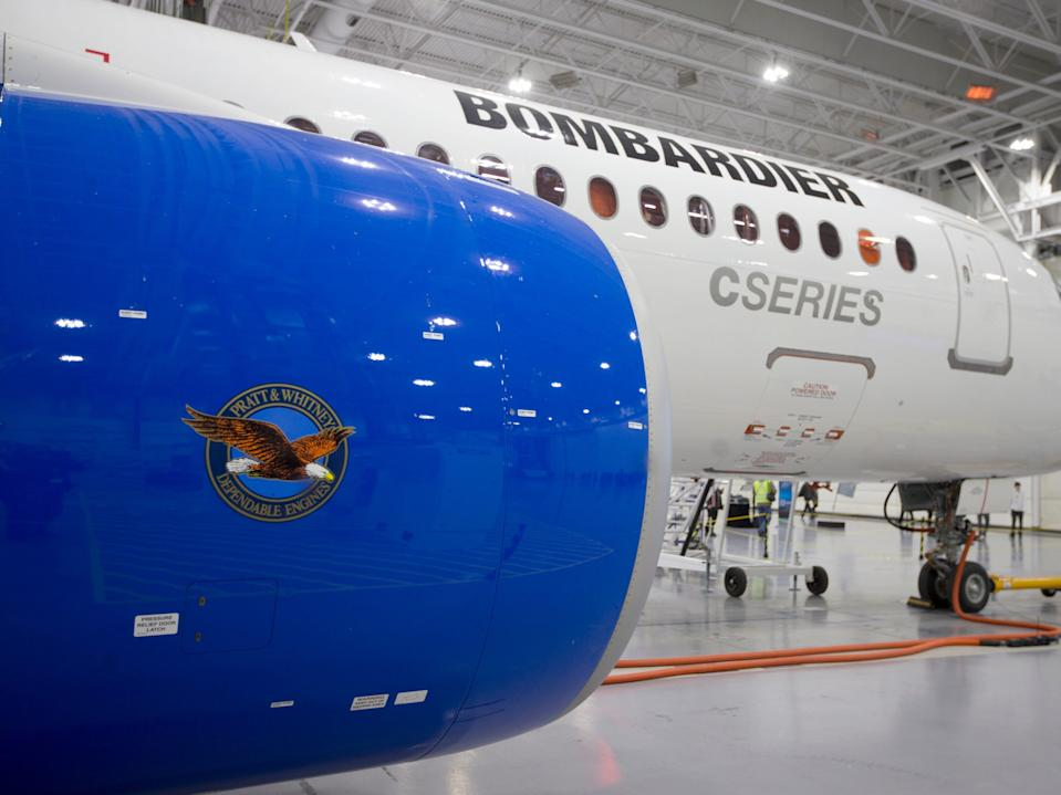 A Bombardier CSeries aircraft.