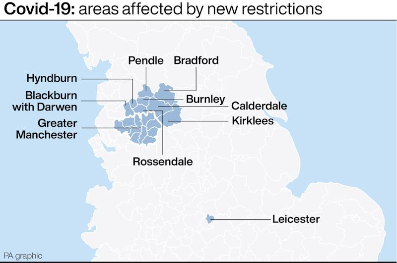 Covid-19: areas affected by new restrictions. See story POLITICS Coronavirus. Infographic PA Graphics. An editable version of this graphic is available if required. Please contact graphics@pamediagroup.com.