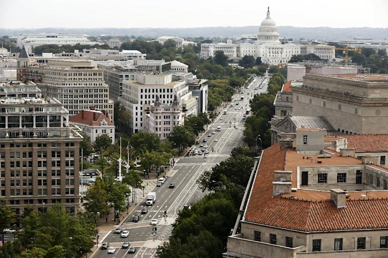 "Pennsylvania Avenue NW leads toward the Capitol as seen from the Old Post Office Tower in Washington, Wednesday, Oct. 3, 2012. Pennsylvania Avenue, sometimes called ""America's Main Street,"" is being listed among the nation's endangered landscapes because of neglect and deferred maintenance by the National Park Service. The nonprofit Cultural Landscape Foundation told The Associated Press on Wednesday that the grand avenue connecting the Capitol and White House is slowly falling into disrepair. Water fountains are left rarely functioning, benches are broken and some trees have been removed. (AP Photo/Jacquelyn Martin)"