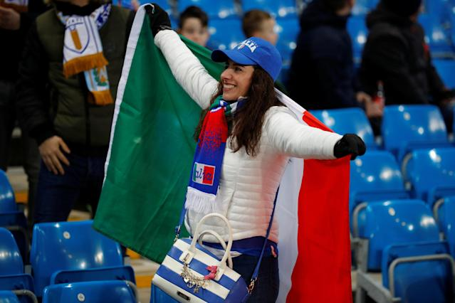 Soccer Football - International Friendly - Italy vs Argentina - Etihad Stadium, Manchester, Britain - March 23, 2018 Italy fan before the match REUTERS/Phil Noble
