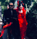 <p>Kat Von D and musician Rafael Reyes celebrated their nuptials with close friends and family in June 2018 and proved that you needn't follow tradition on your big day. Eschewing bridal white, the makeup mogul chose a bespoke blood-red gown by Adolfo Sanchez complete with a Majesty Blackheadpiece. <em>[Photo: Instagram] </em> </p>