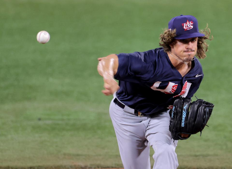 USA's starting pitcher Joseph Speer Ryan hurls the ball during the second inning of the Tokyo 2020 Olympic Games baseball opening round group B game between USA and Israel at Yokohama Baseball Stadium in Yokohama, Japan, on July 30, 2021. (Photo by KAZUHIRO FUJIHARA / AFP) (Photo by KAZUHIRO FUJIHARA/AFP via Getty Images)